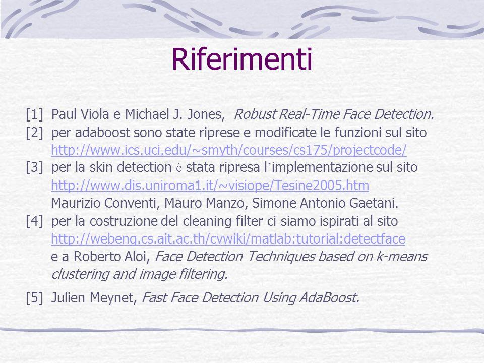 Riferimenti [1] Paul Viola e Michael J. Jones, Robust Real-Time Face Detection. [2] per adaboost sono state riprese e modificate le funzioni sul sito