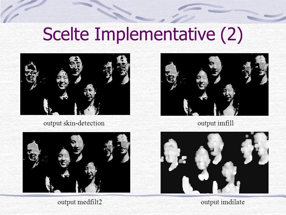 Scelte Implementative (2) output skin-detectionoutput imfill output medfilt2output imdilate