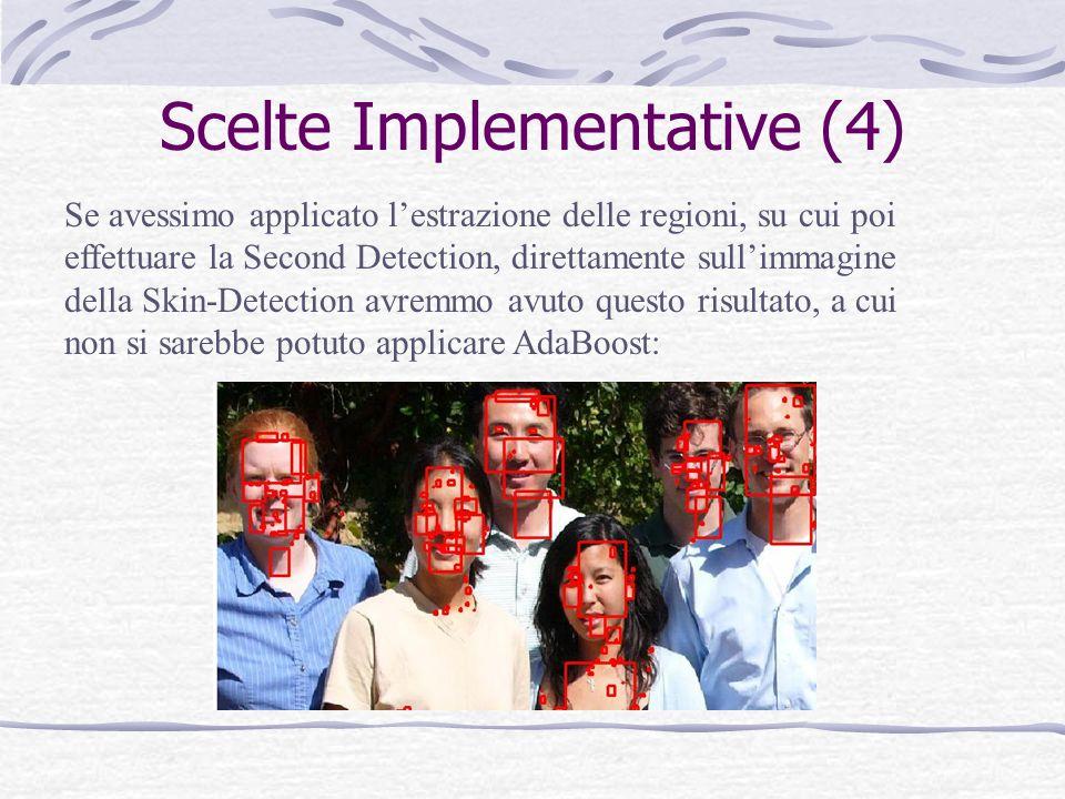 Scelte Implementative (5) Altre scelte implementative sono state: 1.Lestrazione delle features è stata suddivisa in due modalità: quella riguardante la fase di training e quella relativa alla vera e propria detection.
