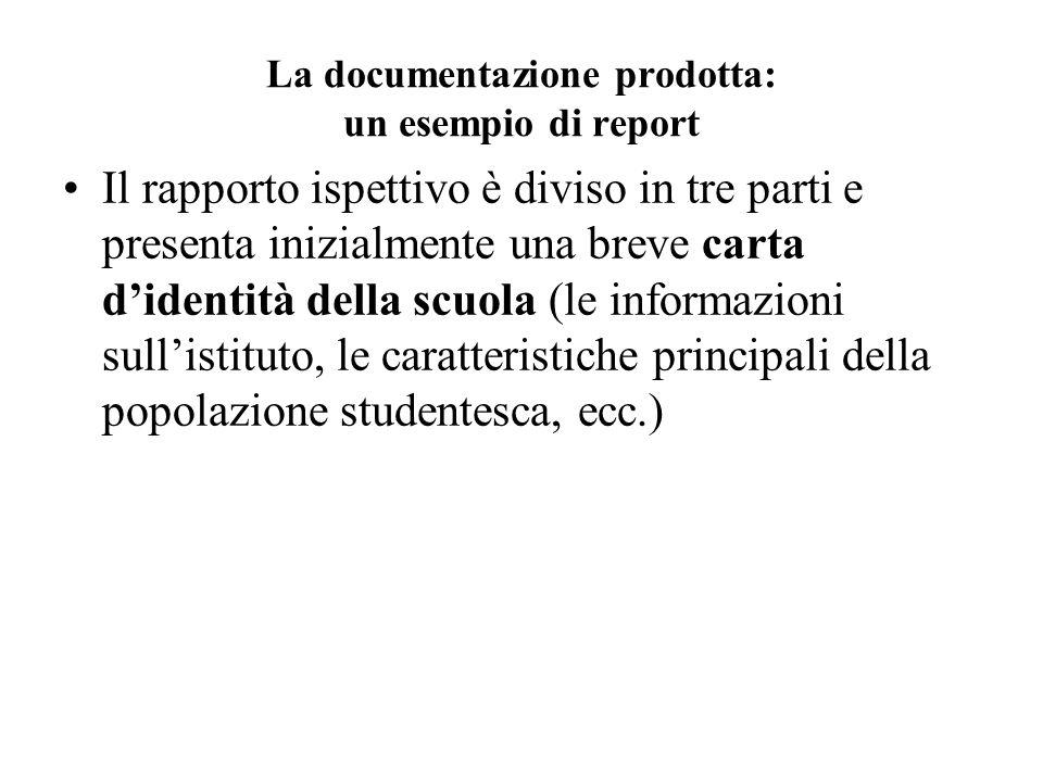 La documentazione prodotta: un esempio di report Il rapporto ispettivo è diviso in tre parti e presenta inizialmente una breve carta didentità della s