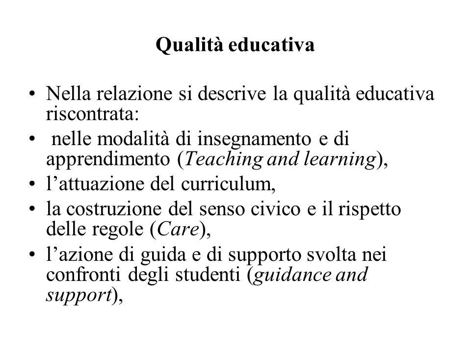 Qualità educativa Nella relazione si descrive la qualità educativa riscontrata: nelle modalità di insegnamento e di apprendimento (Teaching and learni