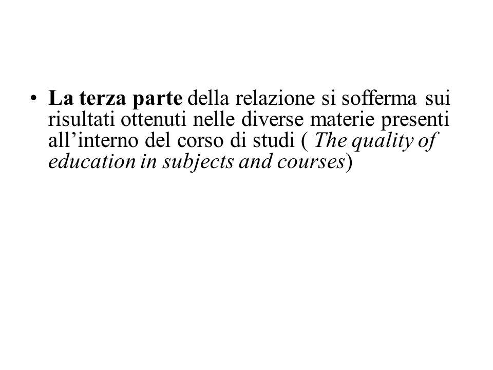La terza parte della relazione si sofferma sui risultati ottenuti nelle diverse materie presenti allinterno del corso di studi ( The quality of educat