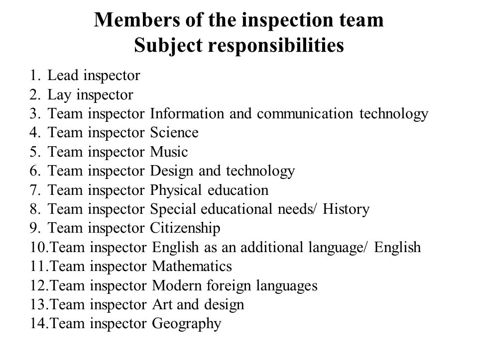 Members of the inspection team Subject responsibilities 1.Lead inspector 2.Lay inspector 3.Team inspector Information and communication technology 4.Team inspector Science 5.Team inspector Music 6.Team inspector Design and technology 7.Team inspector Physical education 8.Team inspector Special educational needs/ History 9.Team inspector Citizenship 10.Team inspector English as an additional language/ English 11.Team inspector Mathematics 12.Team inspector Modern foreign languages 13.Team inspector Art and design 14.Team inspector Geography