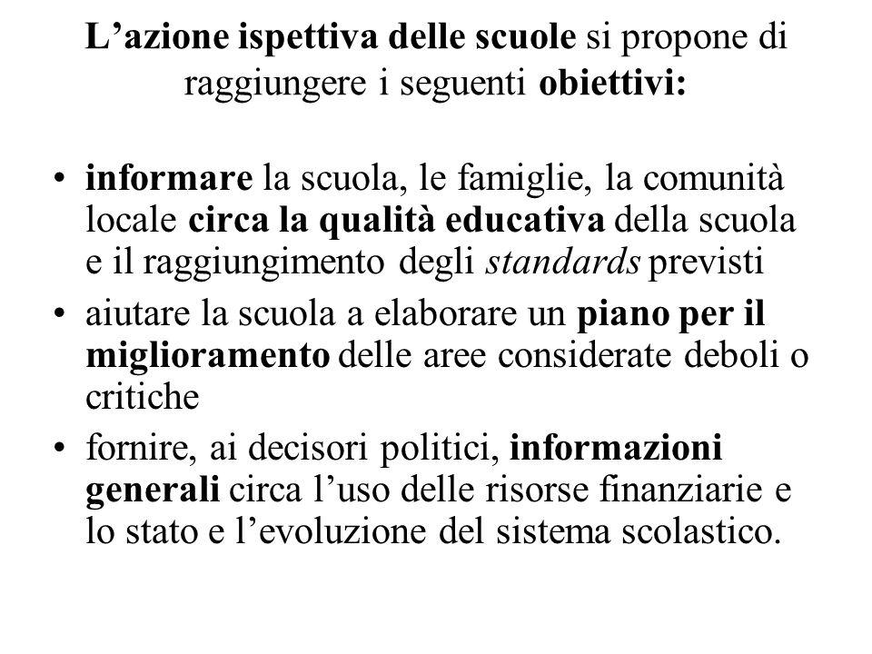 Lazione ispettiva delle scuole si propone di raggiungere i seguenti obiettivi: informare la scuola, le famiglie, la comunità locale circa la qualità e
