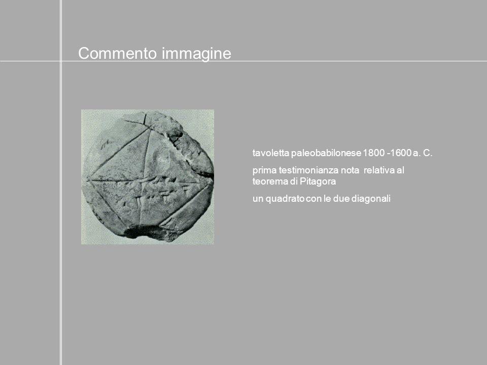 tavoletta paleobabilonese 1800 -1600 a. C. prima testimonianza nota relativa al teorema di Pitagora un quadrato con le due diagonali Commento immagine