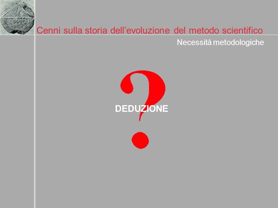Cenni sulla storia dellevoluzione del metodo scientifico Necessità metodologiche DEDUZIONE
