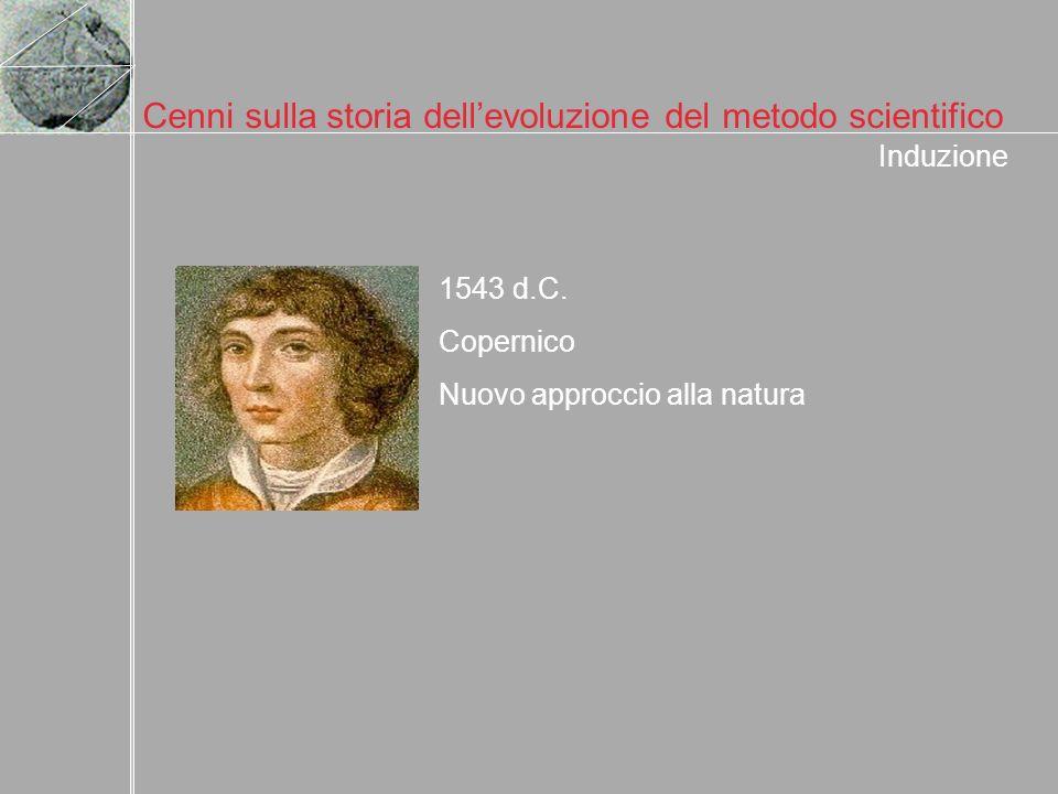 Cenni sulla storia dellevoluzione del metodo scientifico 1543 d.C. Copernico Nuovo approccio alla natura Induzione