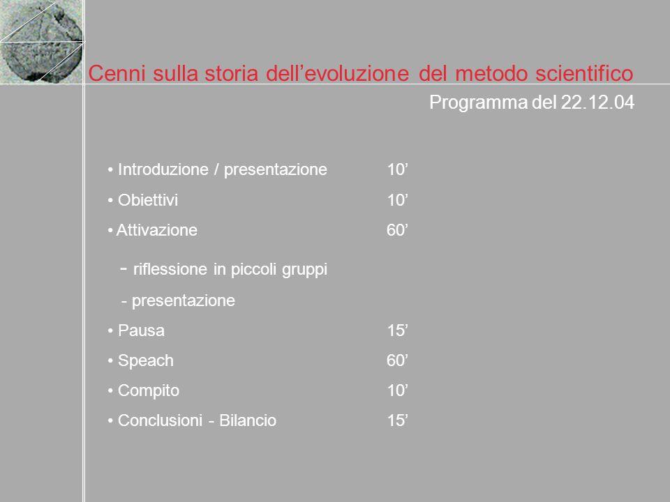 Cenni sulla storia dellevoluzione del metodo scientifico Programma del 22.12.04 Introduzione / presentazione10 Obiettivi10 Attivazione60 - riflessione