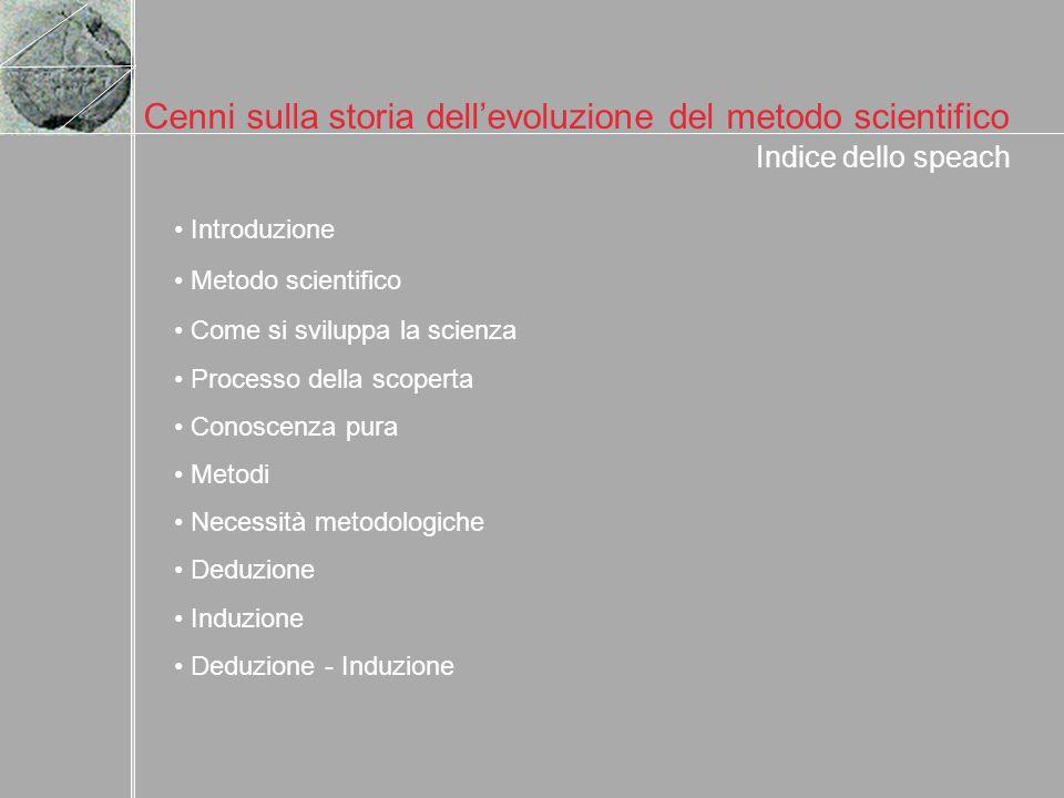 Cenni sulla storia dellevoluzione del metodo scientifico Indice dello speach Introduzione Metodo scientifico Come si sviluppa la scienza Processo dell