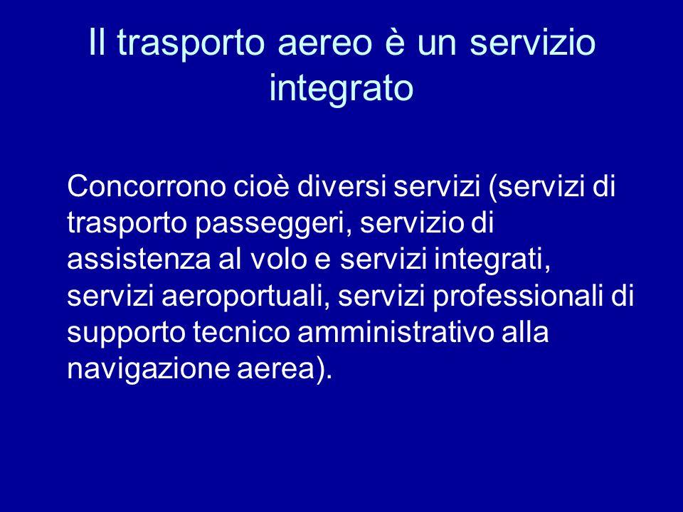 Il trasporto aereo è un servizio integrato Concorrono cioè diversi servizi (servizi di trasporto passeggeri, servizio di assistenza al volo e servizi