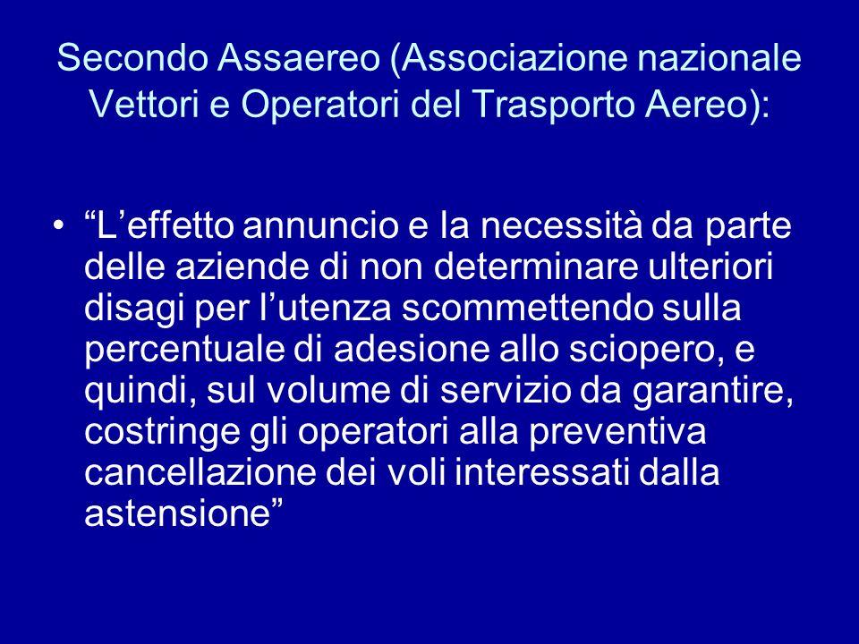 Secondo Assaereo (Associazione nazionale Vettori e Operatori del Trasporto Aereo): Leffetto annuncio e la necessità da parte delle aziende di non dete