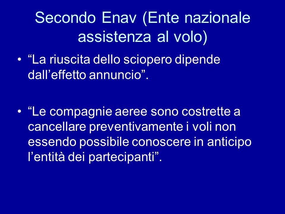 Secondo Enav (Ente nazionale assistenza al volo) La riuscita dello sciopero dipende dalleffetto annuncio. Le compagnie aeree sono costrette a cancella