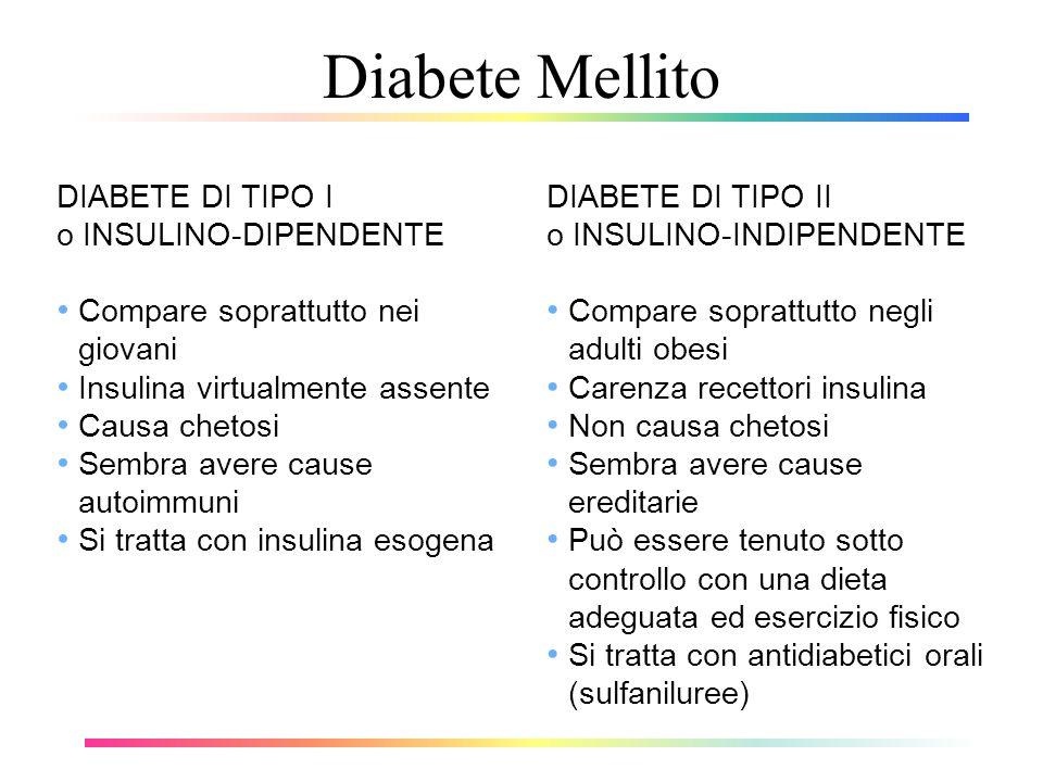 Diabete Mellito DIABETE DI TIPO I o INSULINO-DIPENDENTE Compare soprattutto nei giovani Insulina virtualmente assente Causa chetosi Sembra avere cause