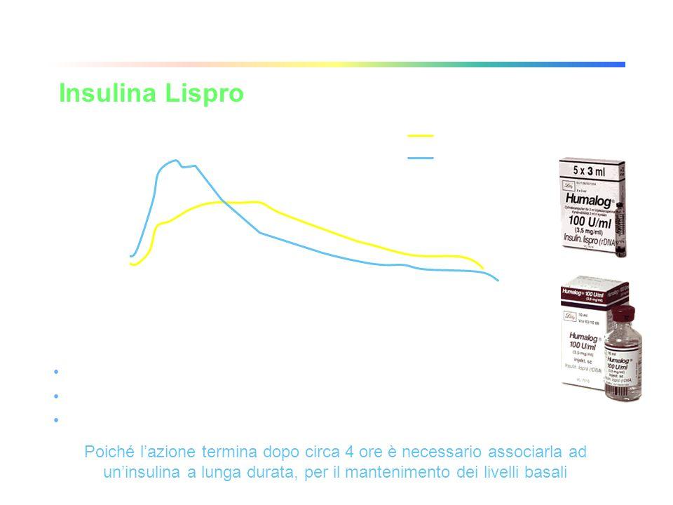 Analoghi dellinsulina Insulina Lispro Tempo (minuti) Insulina Lispro Insulina Umana Normale Concentrazione di insulina libera nel sangue (µg/L) 024048