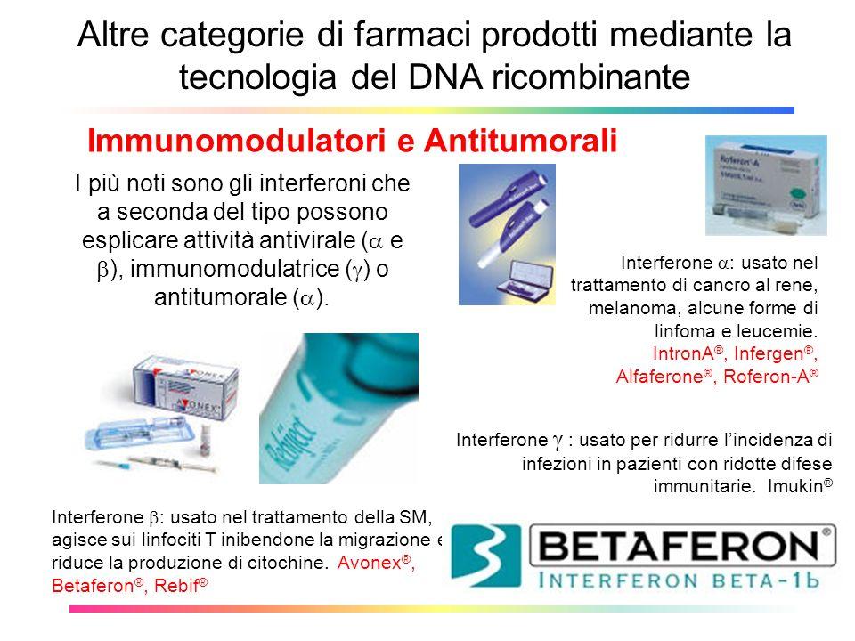 Altre categorie di farmaci prodotti mediante la tecnologia del DNA ricombinante Immunomodulatori e Antitumorali Interferone : usato nel trattamento de