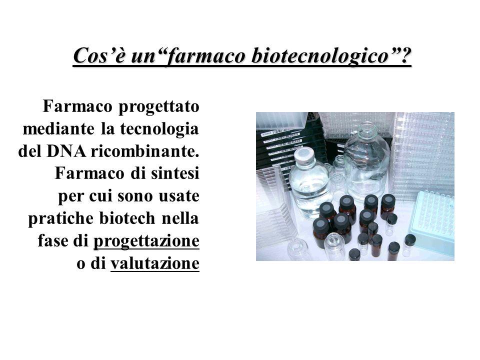 Cosè unfarmaco biotecnologico? Farmaco progettato mediante la tecnologia del DNA ricombinante. Farmaco di sintesi per cui sono usate pratiche biotech