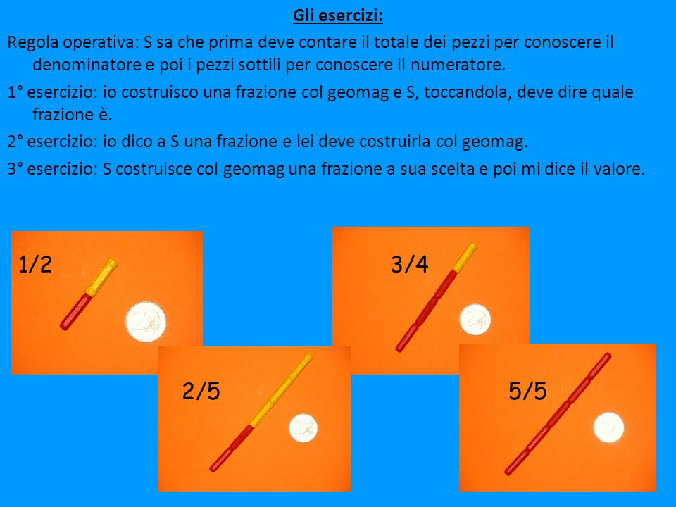 Gli esercizi: Regola operativa: S sa che prima deve contare il totale dei pezzi per conoscere il denominatore e poi i pezzi sottili per conoscere il n