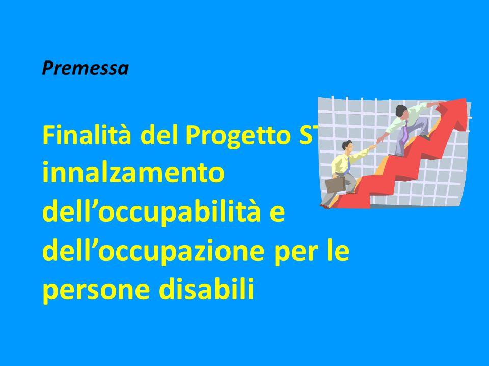 Premessa Finalità del Progetto ST.A.R.T.: innalzamento delloccupabilità e delloccupazione per le persone disabili