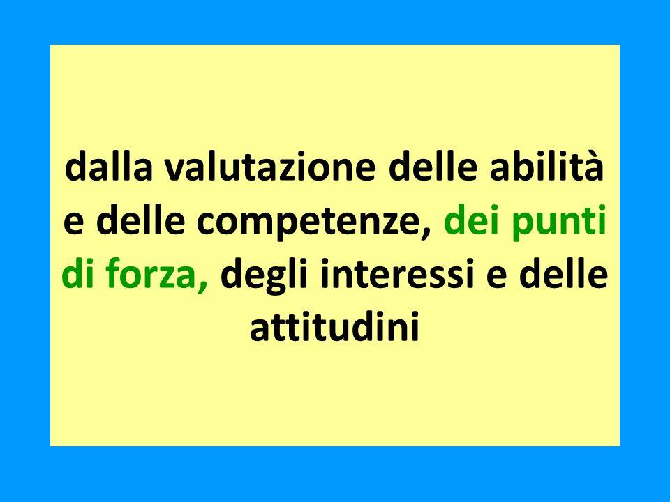 dalla valutazione delle abilità e delle competenze, dei punti di forza, degli interessi e delle attitudini