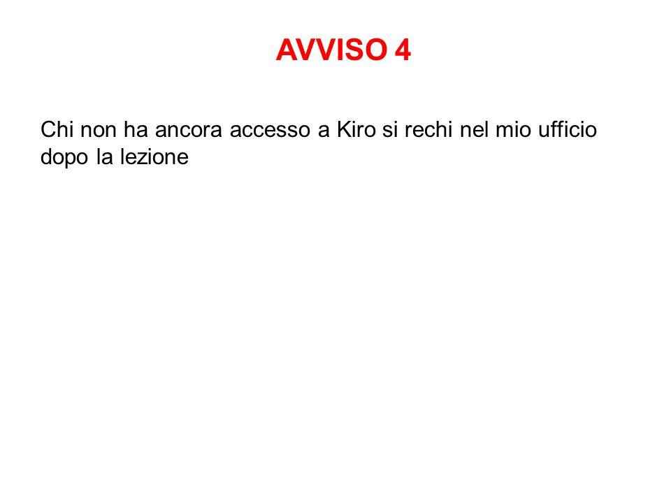Chi non ha ancora accesso a Kiro si rechi nel mio ufficio dopo la lezione AVVISO 4