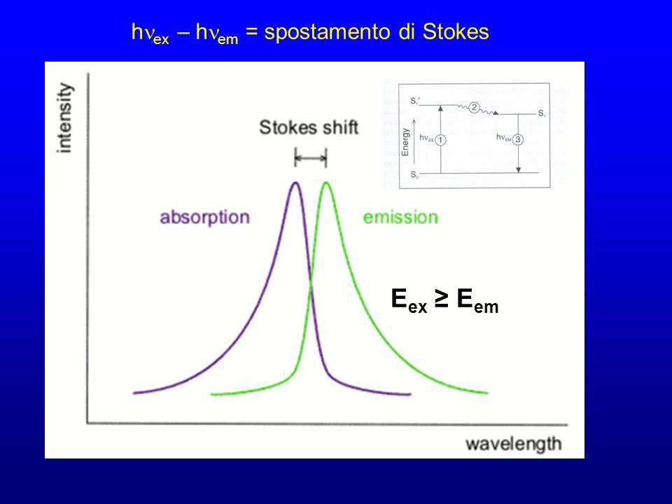 h ex – h em = spostamento di Stokes E ex E em