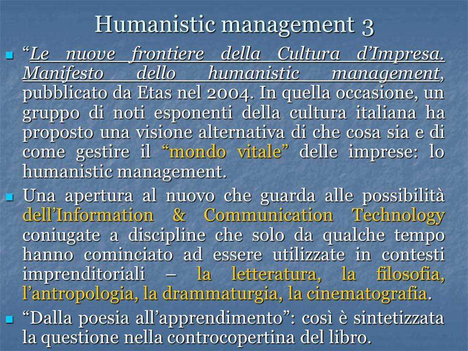 Humanistic management 3 Le nuove frontiere della Cultura dImpresa. Manifesto dello humanistic management, pubblicato da Etas nel 2004. In quella occas