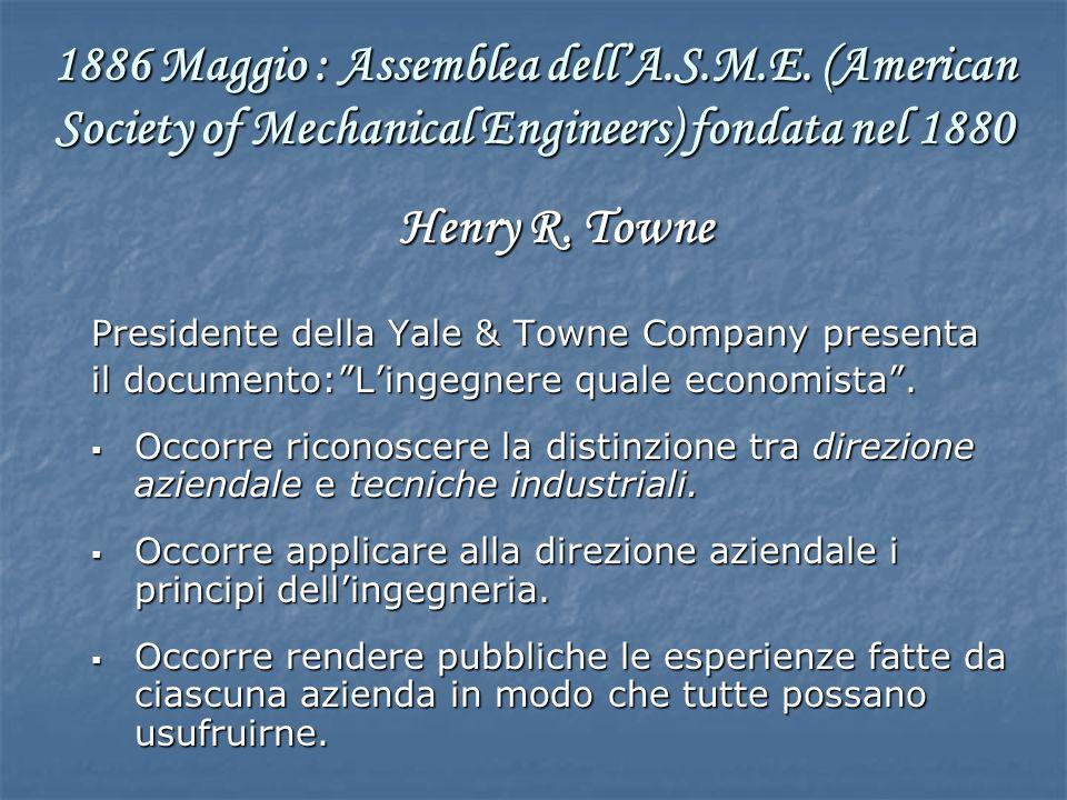 Henry R. Towne Presidente della Yale & Towne Company presenta il documento:Lingegnere quale economista. Occorre riconoscere la distinzione tra direzio