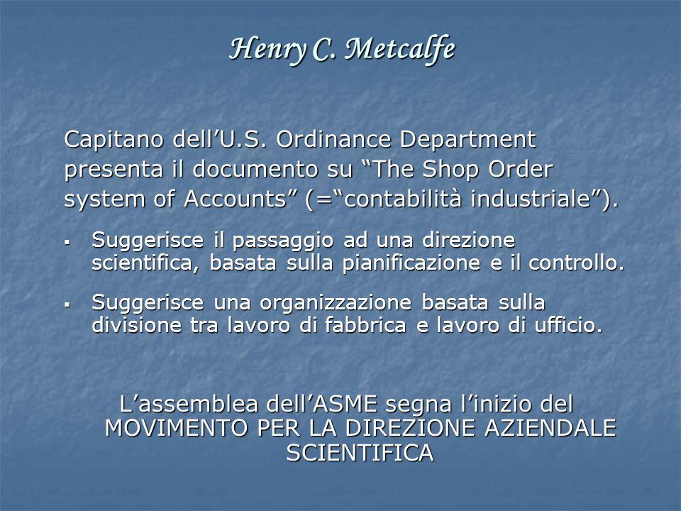 Capitano dellU.S. Ordinance Department presenta il documento su The Shop Order system of Accounts (=contabilità industriale). Suggerisce il passaggio