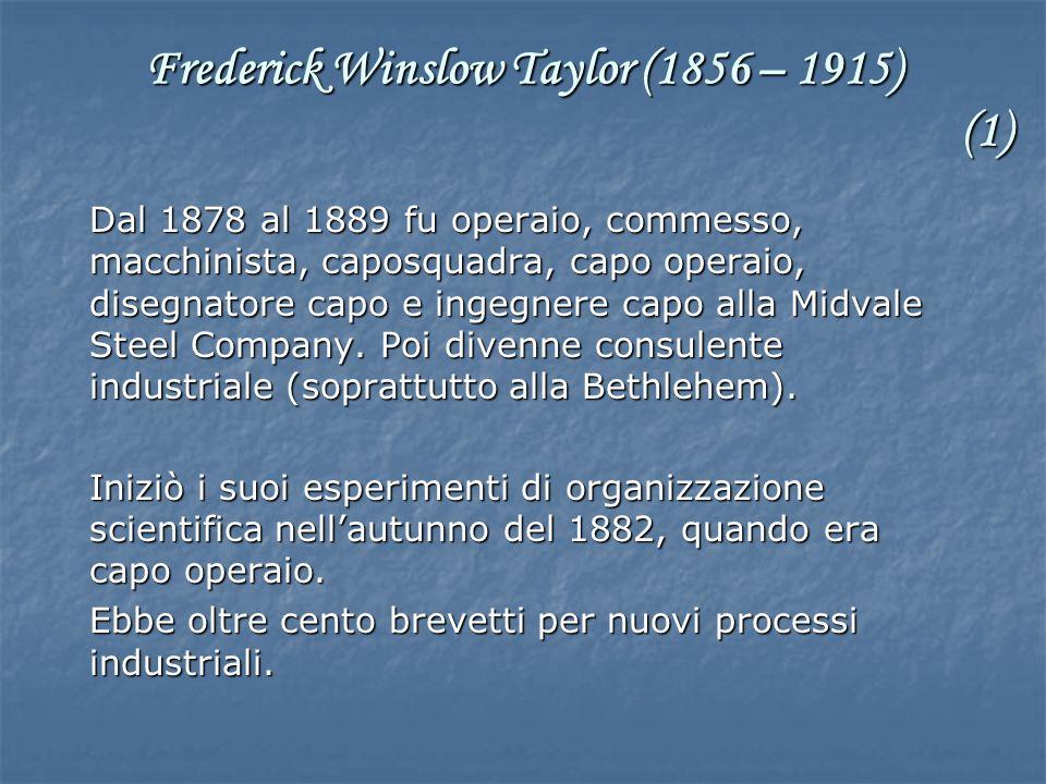 Dal 1878 al 1889 fu operaio, commesso, macchinista, caposquadra, capo operaio, disegnatore capo e ingegnere capo alla Midvale Steel Company. Poi diven