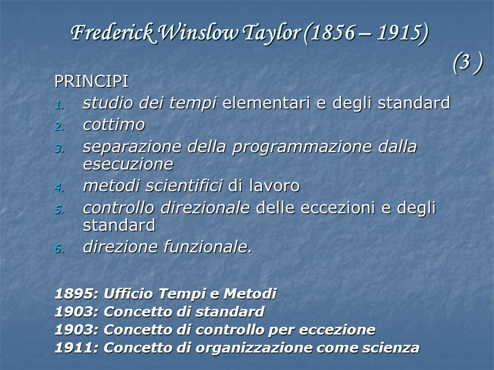 PRINCIPI 1. studio dei tempi elementari e degli standard 2. cottimo 3. separazione della programmazione dalla esecuzione 4. metodi scientifici di lavo