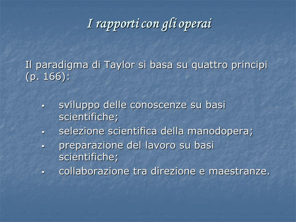 Il paradigma di Taylor si basa su quattro principi (p. 166): sviluppo delle conoscenze su basi scientifiche; sviluppo delle conoscenze su basi scienti