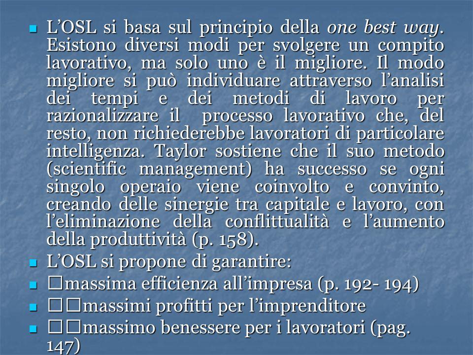 LOSL si basa sul principio della one best way. Esistono diversi modi per svolgere un compito lavorativo, ma solo uno è il migliore. Il modo migliore s