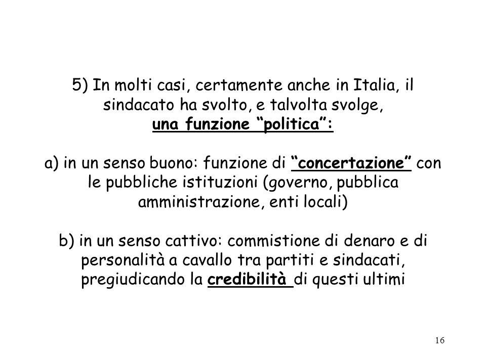 16 5) In molti casi, certamente anche in Italia, il sindacato ha svolto, e talvolta svolge, una funzione politica: a) in un senso buono: funzione di c