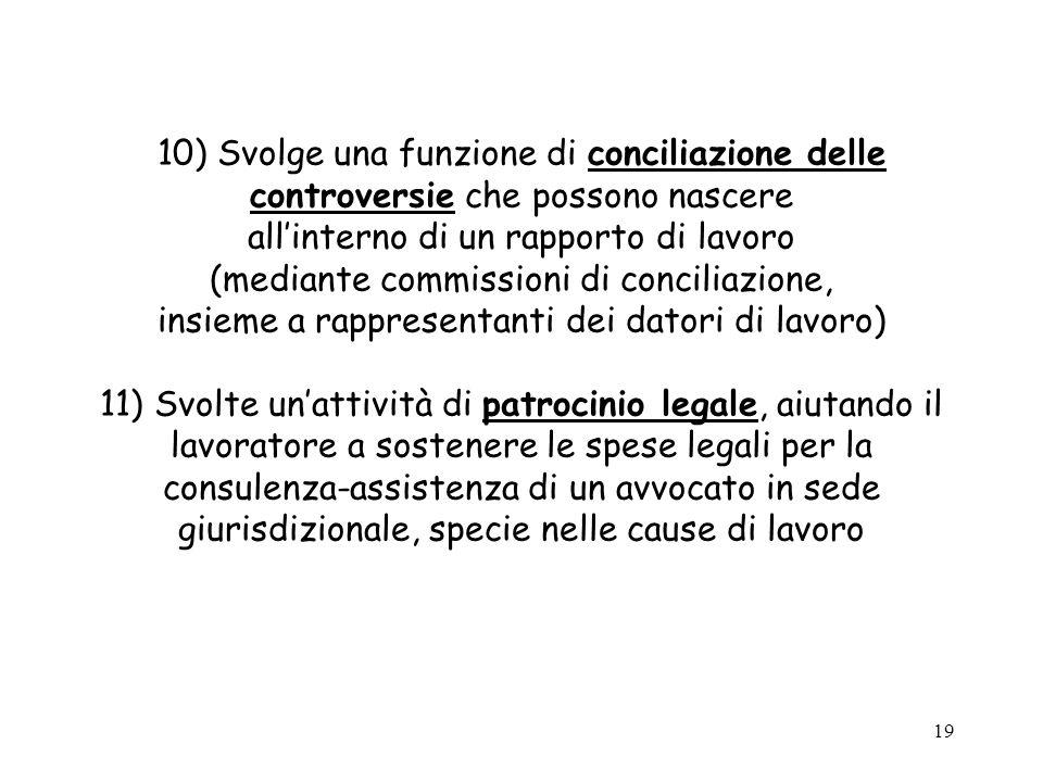 19 10) Svolge una funzione di conciliazione delle controversie che possono nascere allinterno di un rapporto di lavoro (mediante commissioni di concil