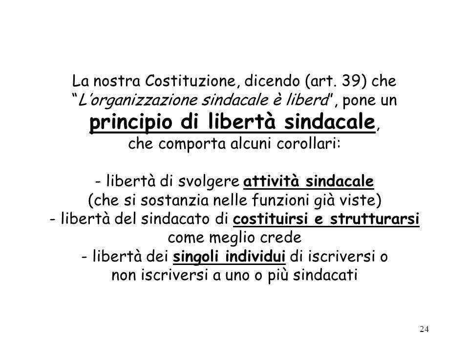 24 La nostra Costituzione, dicendo (art. 39) cheLorganizzazione sindacale è libera, pone un principio di libertà sindacale, che comporta alcuni coroll
