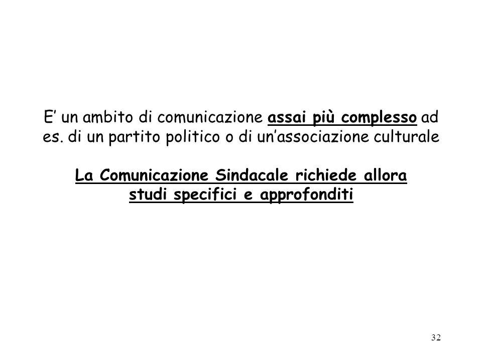 32 E un ambito di comunicazione assai più complesso ad es. di un partito politico o di unassociazione culturale La Comunicazione Sindacale richiede al