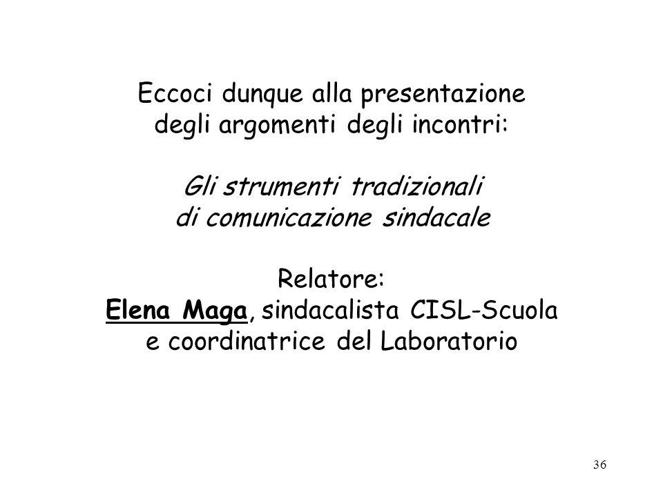 36 Eccoci dunque alla presentazione degli argomenti degli incontri: Gli strumenti tradizionali di comunicazione sindacale Relatore: Elena Maga, sindac