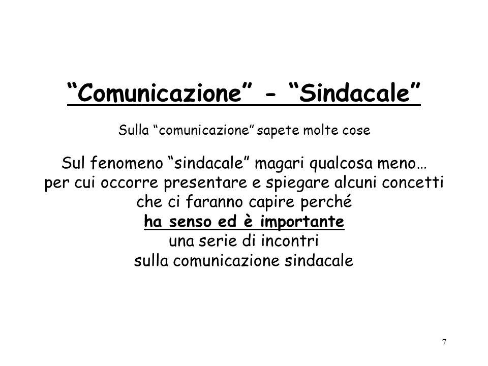 7 Comunicazione - Sindacale Sulla comunicazione sapete molte cose Sul fenomeno sindacale magari qualcosa meno… per cui occorre presentare e spiegare a