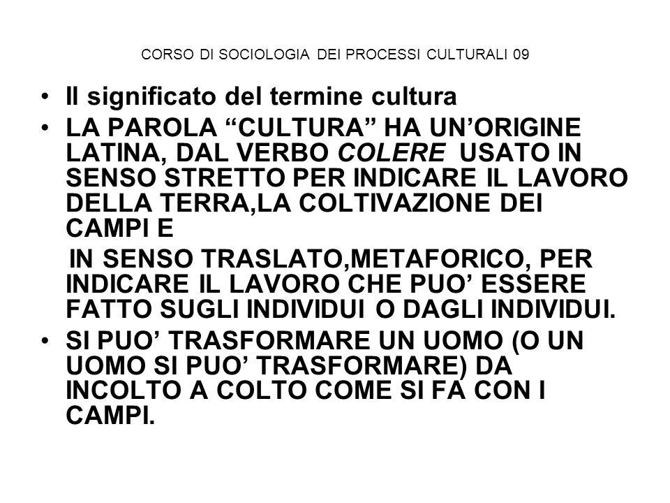 CORSO DI SOCIOLOGIA DEI PROCESSI CULTURALI 09 Il significato del termine cultura LA PAROLA CULTURA HA UNORIGINE LATINA, DAL VERBO COLERE USATO IN SENS