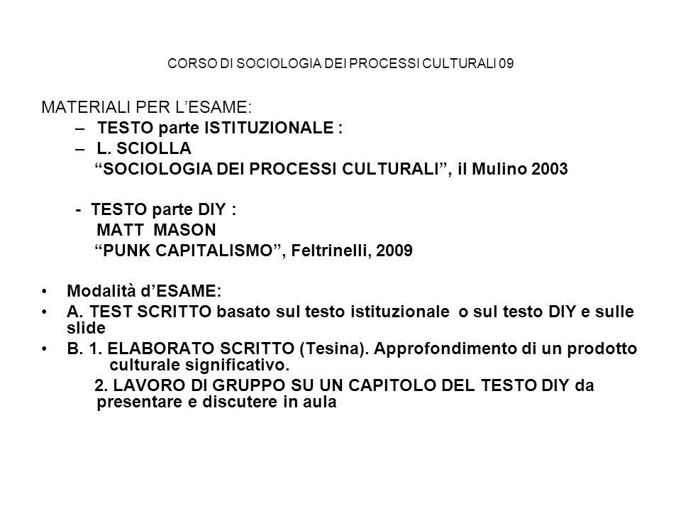 CORSO DI SOCIOLOGIA DEI PROCESSI CULTURALI 09 MATERIALI PER LESAME: –TESTO parte ISTITUZIONALE : –L. SCIOLLA SOCIOLOGIA DEI PROCESSI CULTURALI, il Mul