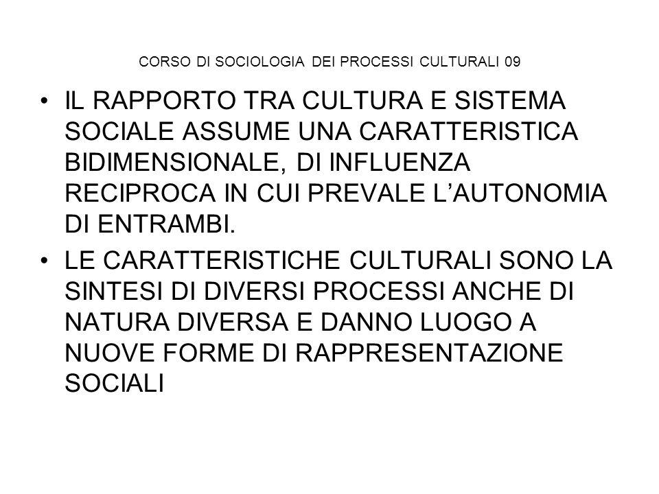 CORSO DI SOCIOLOGIA DEI PROCESSI CULTURALI 09 IL RAPPORTO TRA CULTURA E SISTEMA SOCIALE ASSUME UNA CARATTERISTICA BIDIMENSIONALE, DI INFLUENZA RECIPRO