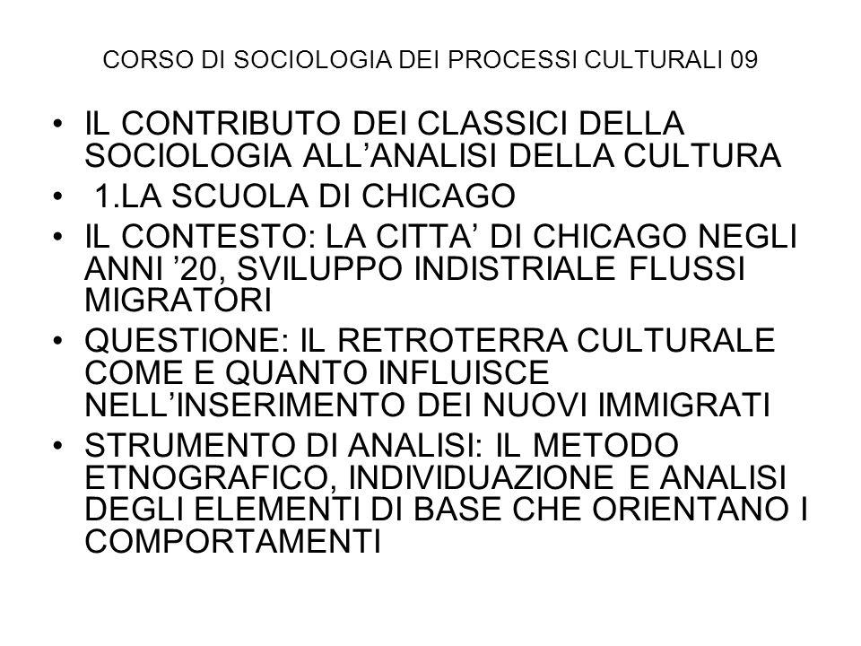 CORSO DI SOCIOLOGIA DEI PROCESSI CULTURALI 09 IL CONTRIBUTO DEI CLASSICI DELLA SOCIOLOGIA ALLANALISI DELLA CULTURA 1.LA SCUOLA DI CHICAGO IL CONTESTO: