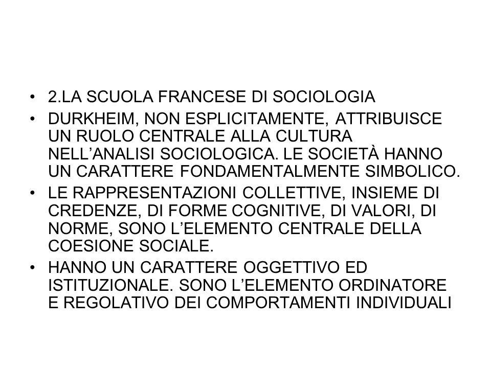 2.LA SCUOLA FRANCESE DI SOCIOLOGIA DURKHEIM, NON ESPLICITAMENTE, ATTRIBUISCE UN RUOLO CENTRALE ALLA CULTURA NELLANALISI SOCIOLOGICA. LE SOCIETÀ HANNO
