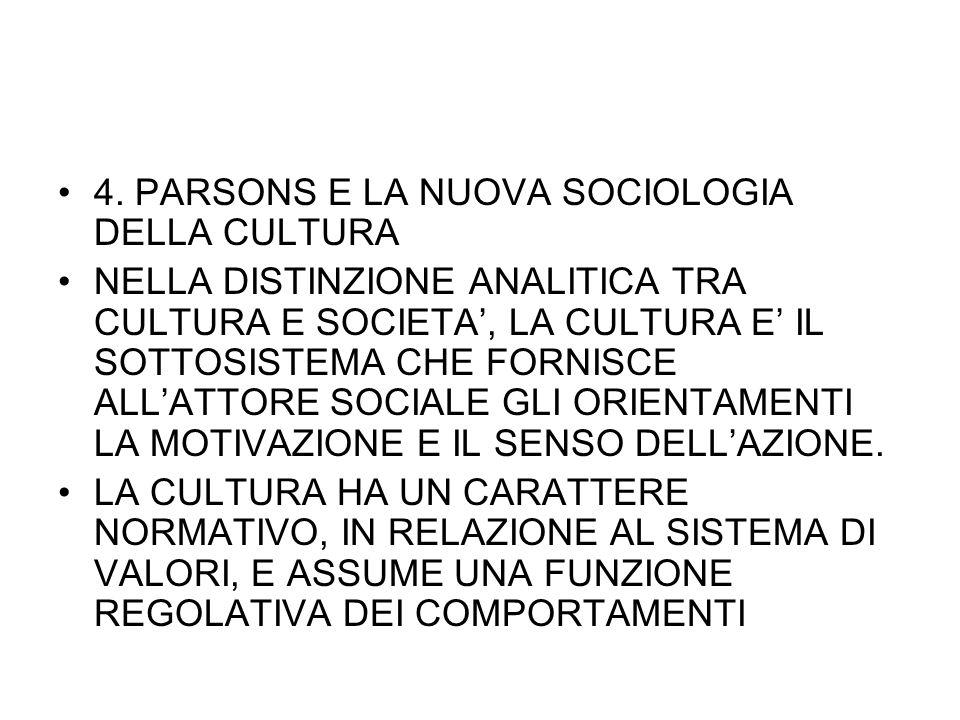 4. PARSONS E LA NUOVA SOCIOLOGIA DELLA CULTURA NELLA DISTINZIONE ANALITICA TRA CULTURA E SOCIETA, LA CULTURA E IL SOTTOSISTEMA CHE FORNISCE ALLATTORE