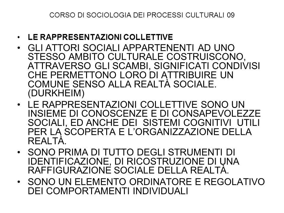 CORSO DI SOCIOLOGIA DEI PROCESSI CULTURALI 09 LE RAPPRESENTAZIONI COLLETTIVE GLI ATTORI SOCIALI APPARTENENTI AD UNO STESSO AMBITO CULTURALE COSTRUISCO