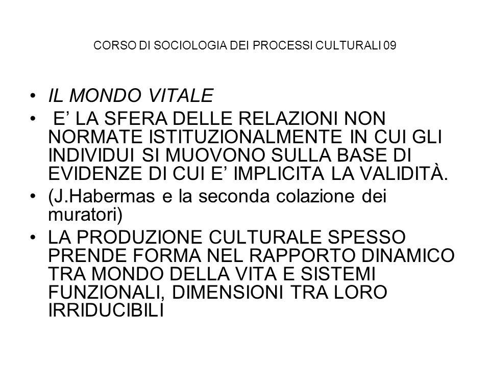 CORSO DI SOCIOLOGIA DEI PROCESSI CULTURALI 09 IL MONDO VITALE E LA SFERA DELLE RELAZIONI NON NORMATE ISTITUZIONALMENTE IN CUI GLI INDIVIDUI SI MUOVONO