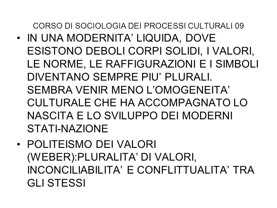 CORSO DI SOCIOLOGIA DEI PROCESSI CULTURALI 09 IN UNA MODERNITA LIQUIDA, DOVE ESISTONO DEBOLI CORPI SOLIDI, I VALORI, LE NORME, LE RAFFIGURAZIONI E I S