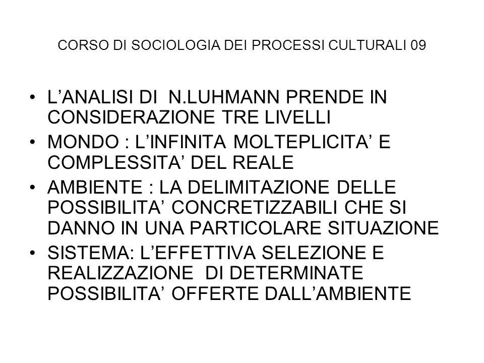 CORSO DI SOCIOLOGIA DEI PROCESSI CULTURALI 09 LANALISI DI N.LUHMANN PRENDE IN CONSIDERAZIONE TRE LIVELLI MONDO : LINFINITA MOLTEPLICITA E COMPLESSITA