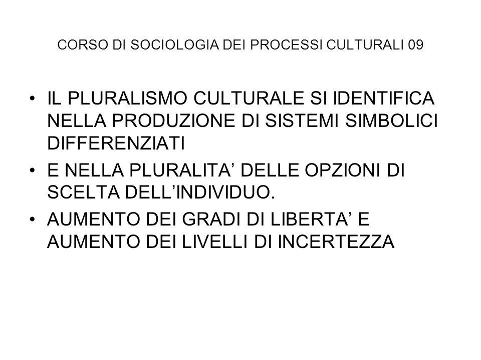 CORSO DI SOCIOLOGIA DEI PROCESSI CULTURALI 09 IL PLURALISMO CULTURALE SI IDENTIFICA NELLA PRODUZIONE DI SISTEMI SIMBOLICI DIFFERENZIATI E NELLA PLURAL