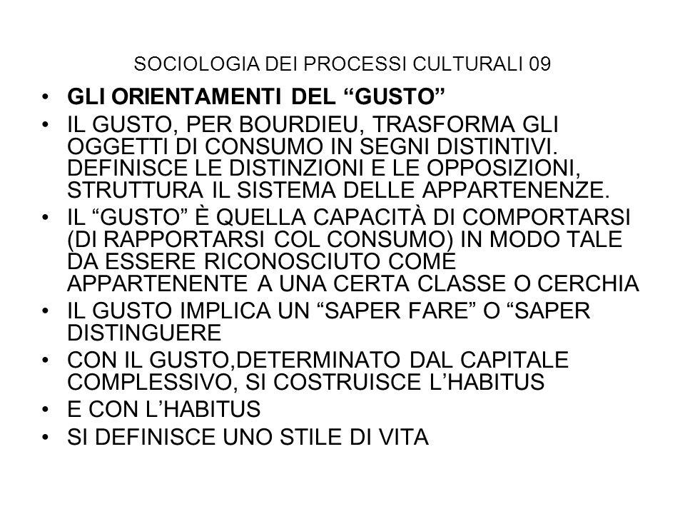 SOCIOLOGIA DEI PROCESSI CULTURALI 09 GLI ORIENTAMENTI DEL GUSTO IL GUSTO, PER BOURDIEU, TRASFORMA GLI OGGETTI DI CONSUMO IN SEGNI DISTINTIVI. DEFINISC